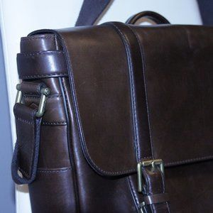 Fossil Brown Leather Briefcase Messenger Bag